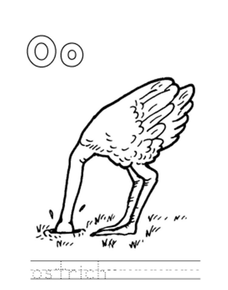 Animal Ostrich Alphabet Coloring Pages