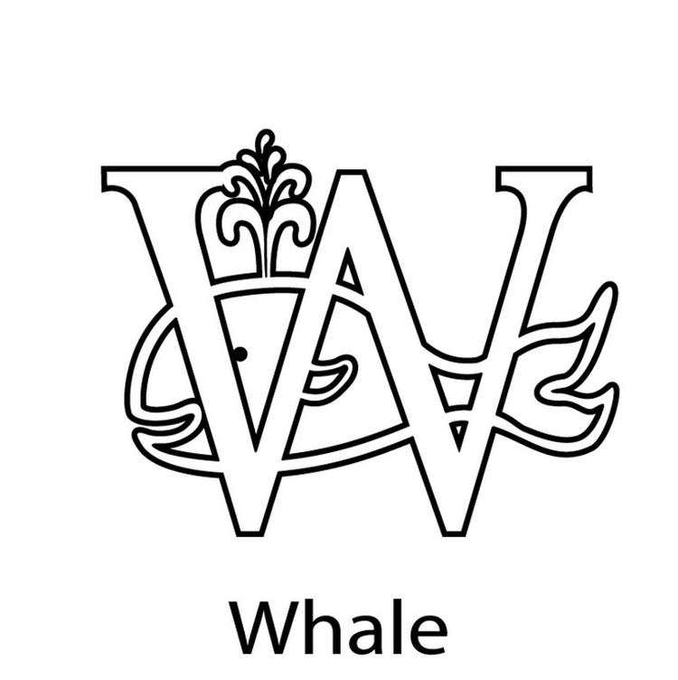 Animal Whale Free Alphabet Coloring Pages