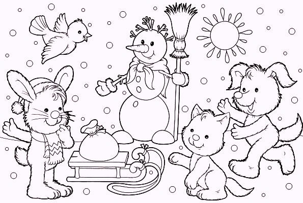 Animals Meet In Winter Season Coloring Pages