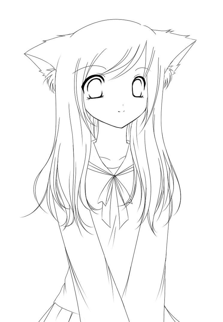 Anime Coloring Pages Cat Girl