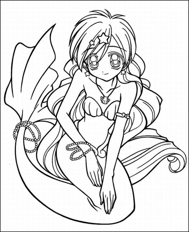 Anime Coloring Pages Mermaid
