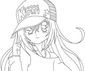 Anime girl coloring pages wearing hat