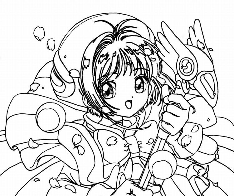 Anime Girl Coloring Pages With Magic Wand