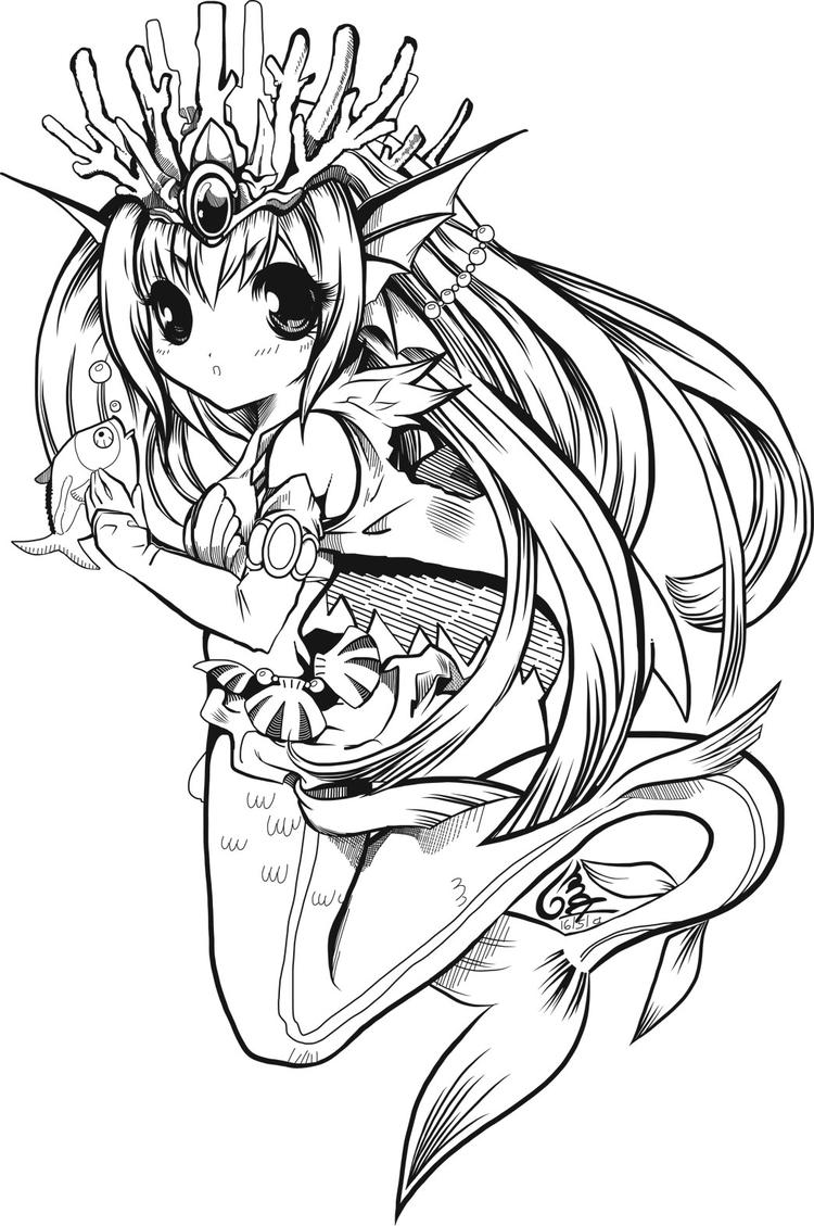 Anime Mermaid Coloring Pages For Child