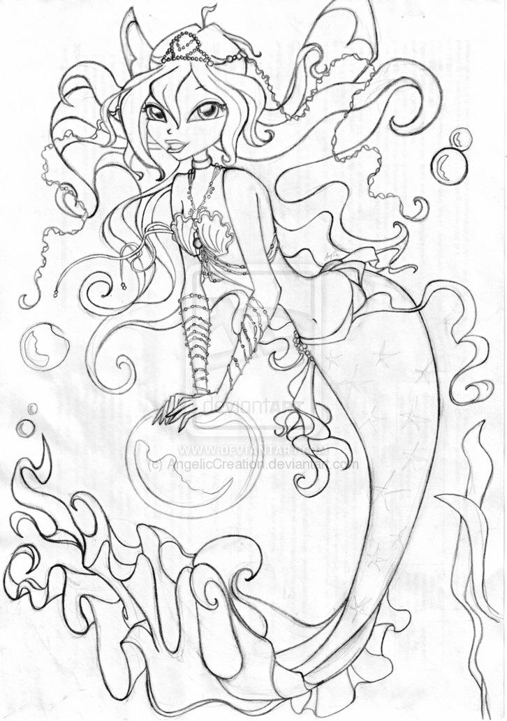 Anime Mermaid Coloring Pages For Girls