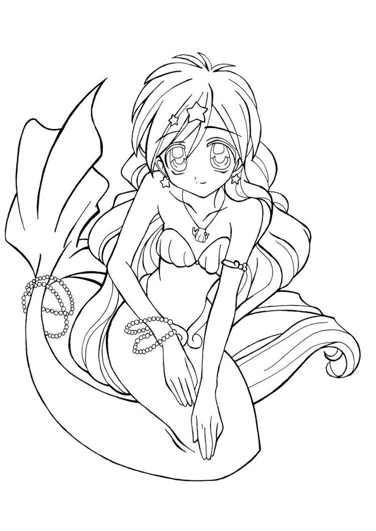 Anime Mermaid Coloring Pages For Kids