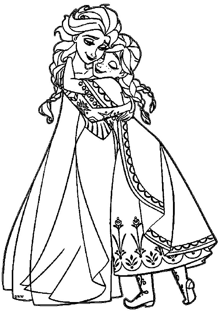 Anna Coloring Pages And Elsa Hugging