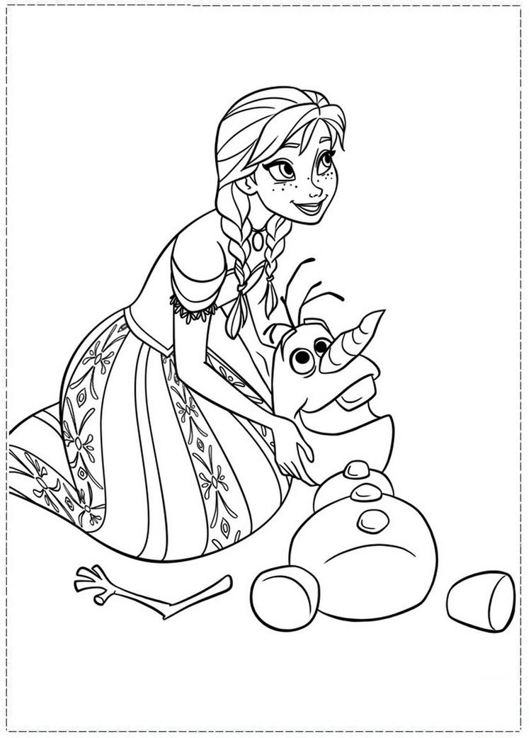 Anna Coloring Pages And Olaf