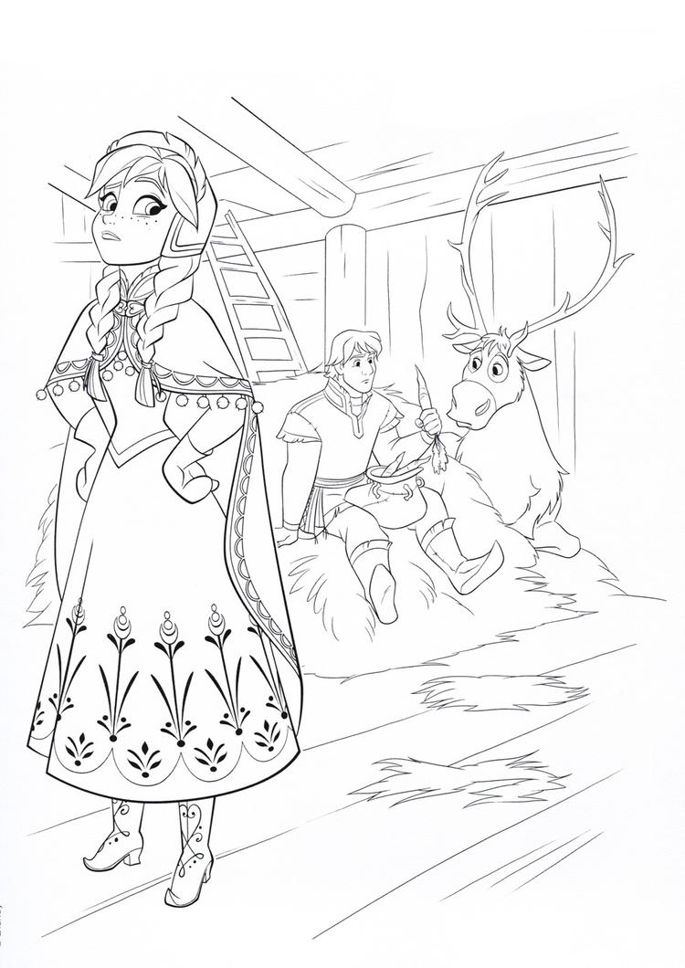 Anna Coloring Pages With Kristoff And Sven