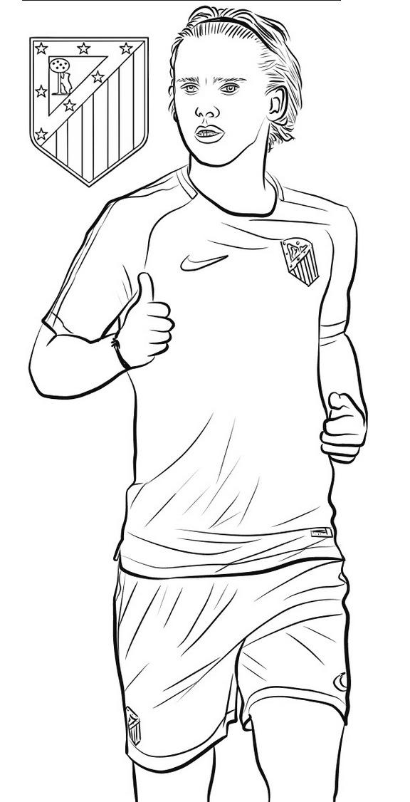 Antoine Griezmann Soccer Football Player Coloring Page