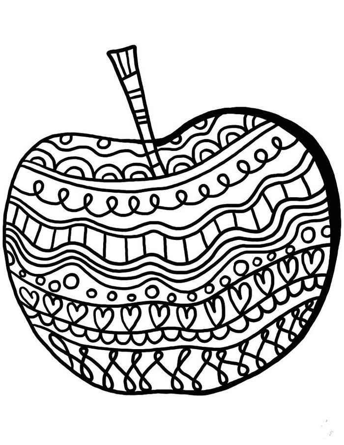 Apple Art Therapy Coloring Pages