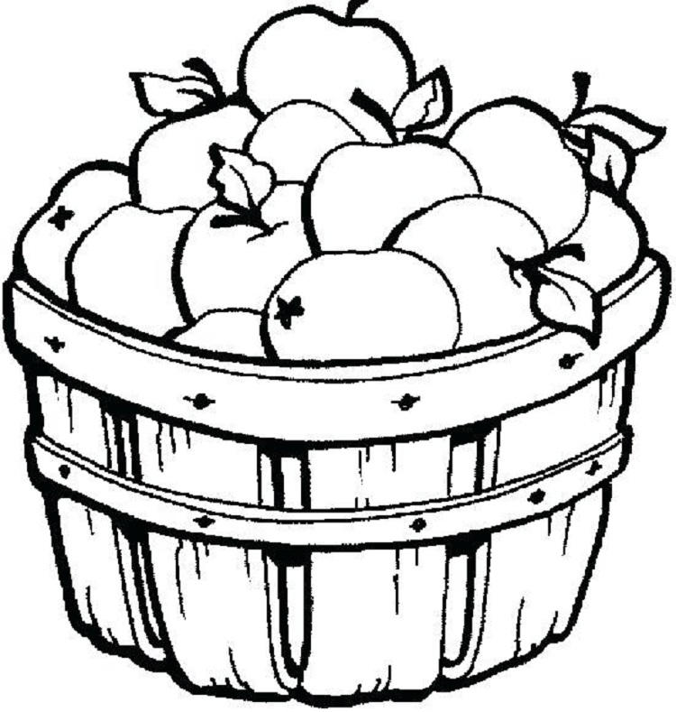 Apple Basket Colouring Page