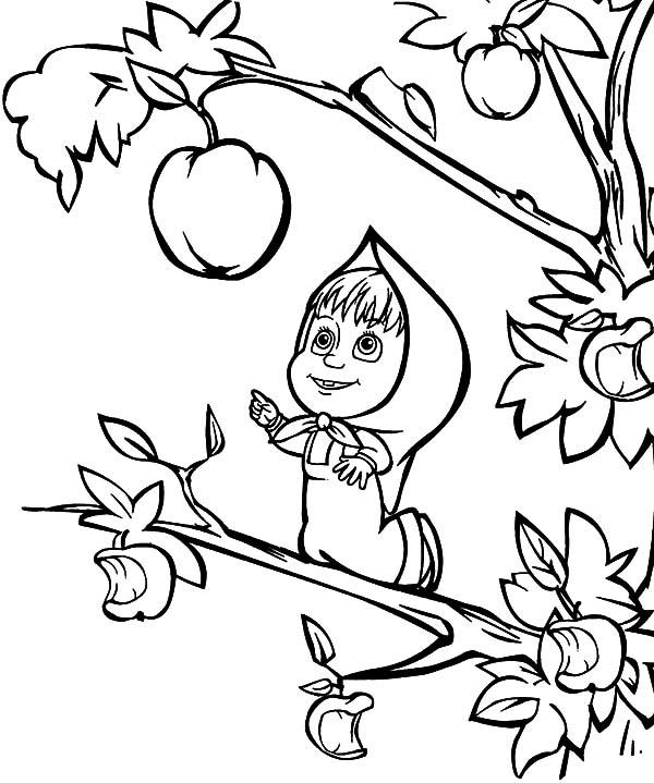 Apple Coloring Pages Masha Pick Apple
