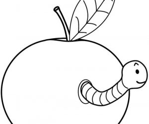 Apple with worm coloring pages