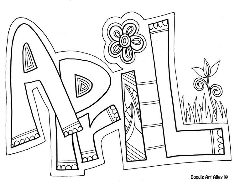 April Month Of The Year Coloring And Drawing Page