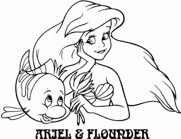 Ariel And Flounder Coloring Pages Free Printable