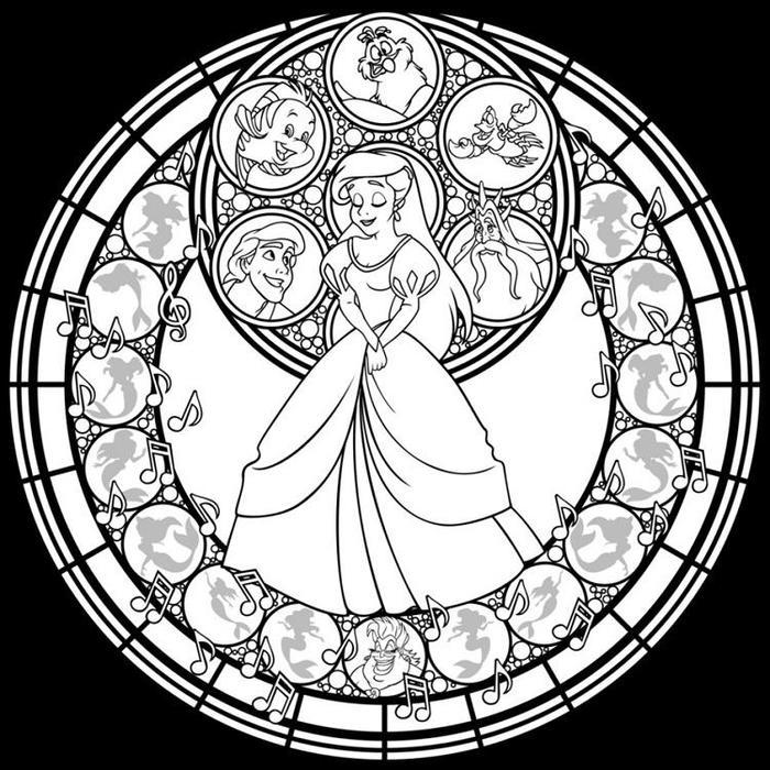 Ariel Stained Glass Coloring Pages