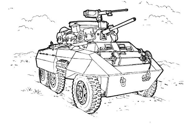 Army Car For Combat Coloring Pages