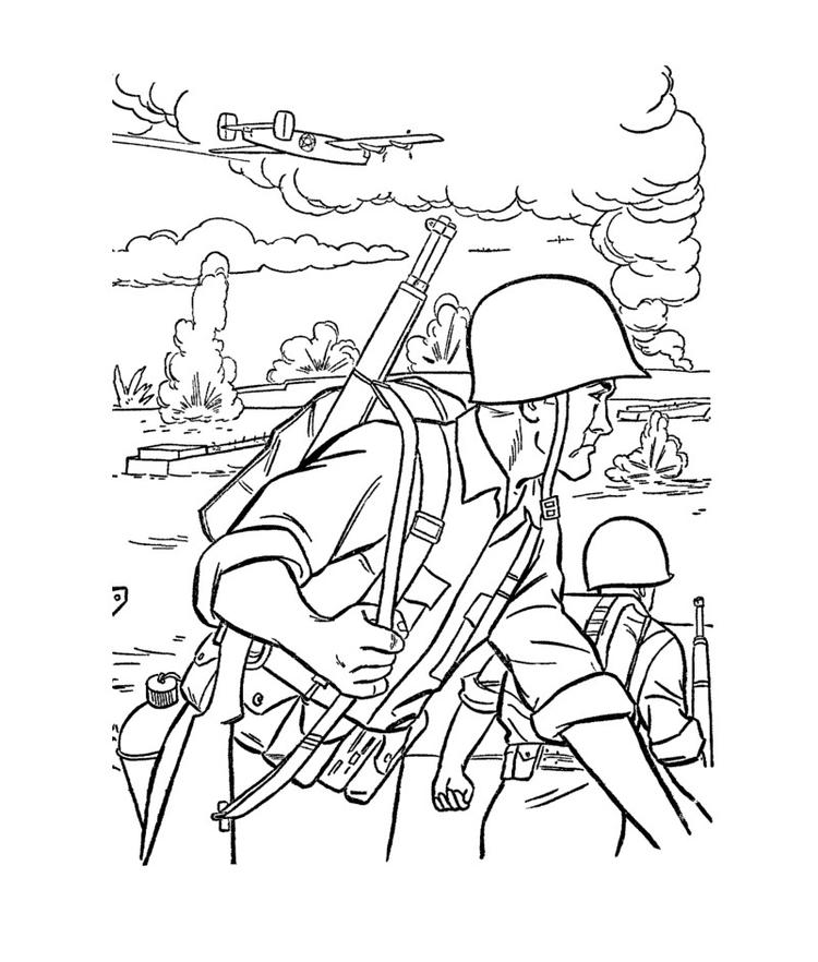 Army Coloring Pages Soldiers In Battlefield