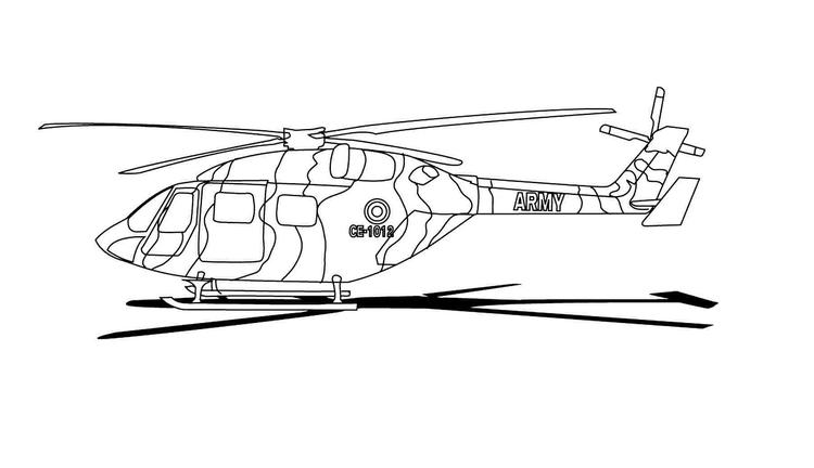 Army Helicopter Coloring Pages Printable