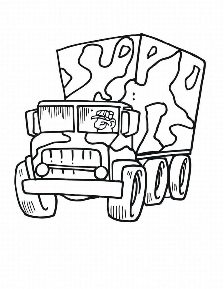 Army Truck Coloring Pages For Kids