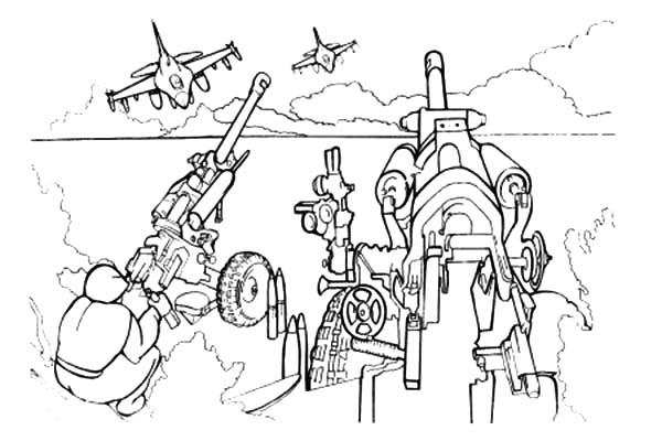Army With Heavy Artilery Coloring Pages