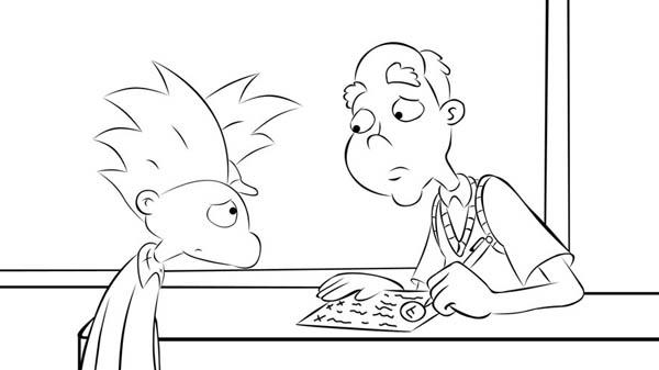 Arnold Taking Advice From Grandpa Phil In Hey Arnold Coloring Pages