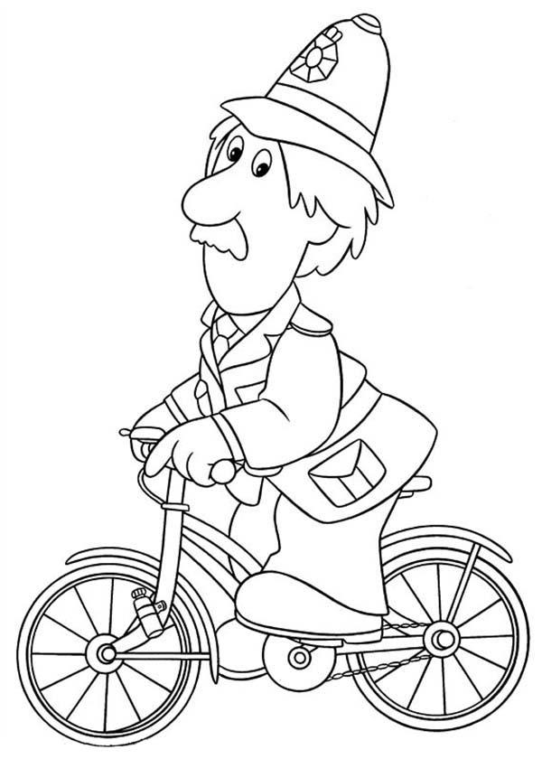 Arthut Shelby Ride A Bike In Postman Pat Coloring Pages