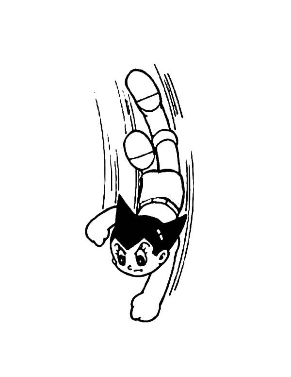 Astro Boy Aerial Action Coloring Pages