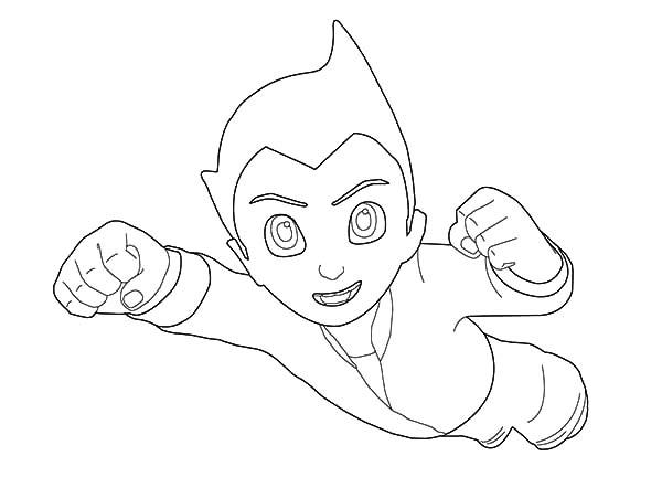 Astro Boy Has Defeat The Enemy Coloring Pages