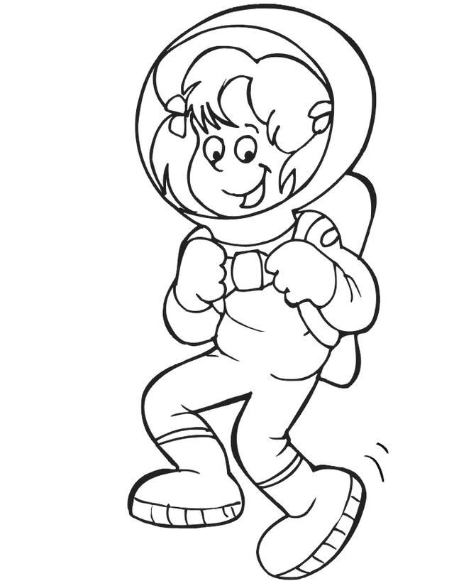 Astronaut Coloring And Drawing Page