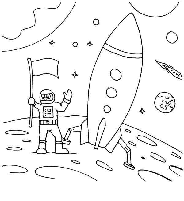 Astronaut Coloring Pages With Rocket Ship