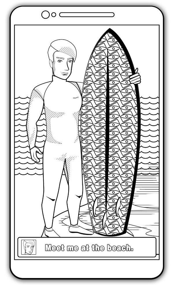 At Beach Coloring Book Surfing