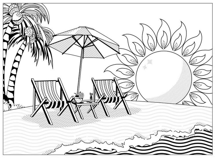 At Beach Coloring Book