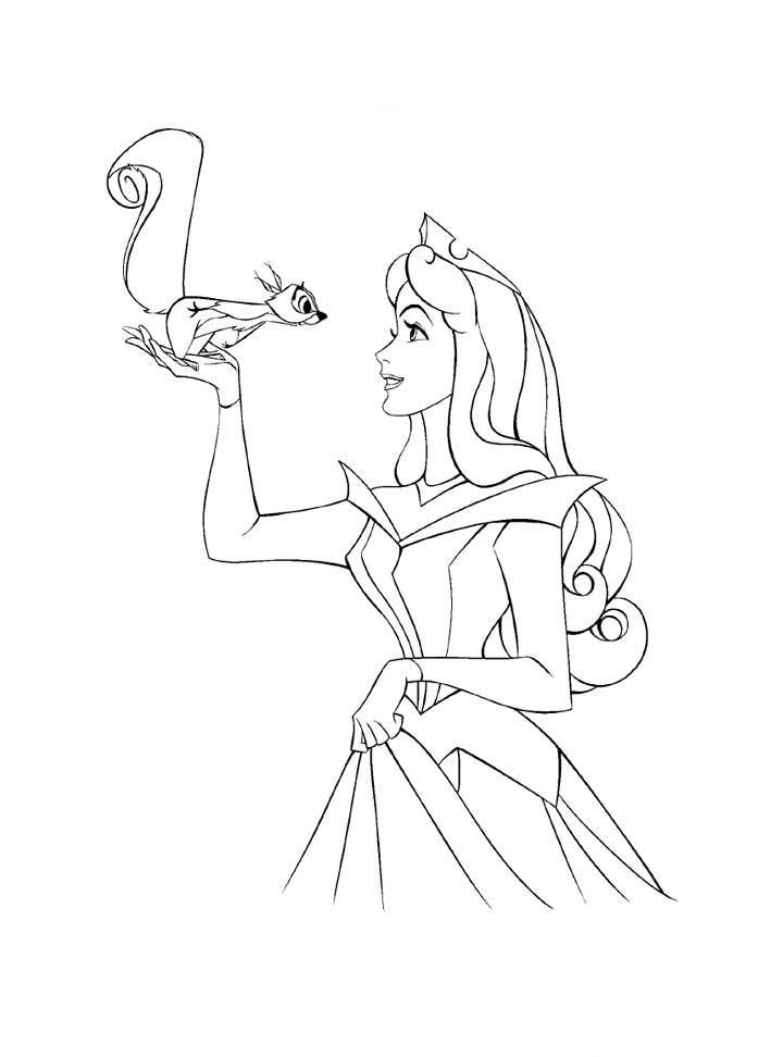 Aurora Coloring Pages With Squirrel