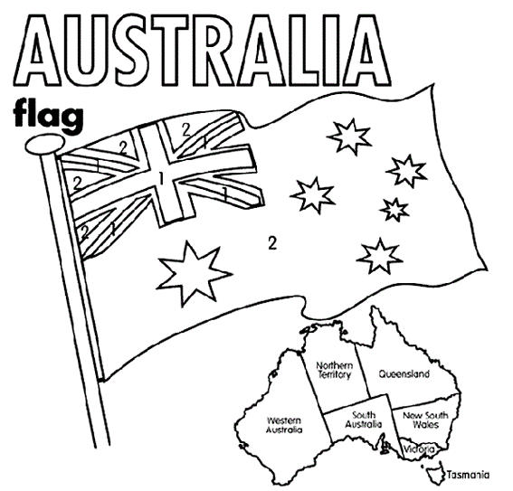 Australia Flag Fluttering And Map Coloring Sheet