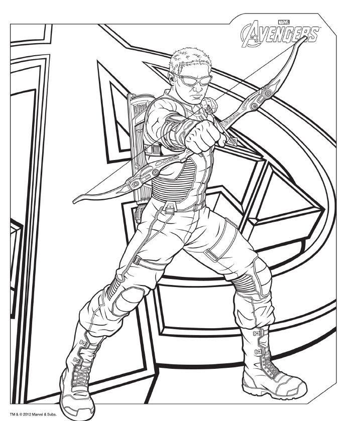 Avengers Coloring Pages Hawkeye