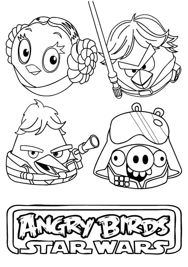 Awesome Angry Bird Star Wars Coloring Pages