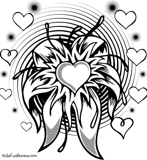 Awesome Coloring Pages Of Hearts For Teenagers Difficult