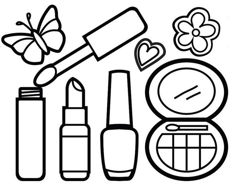 Awesome Makeup Kit Coloring Page For Your Little Princess