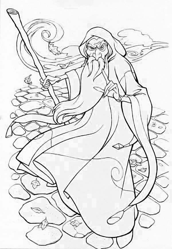 Awesome Style Of Merlin The Wizard Coloring Pages