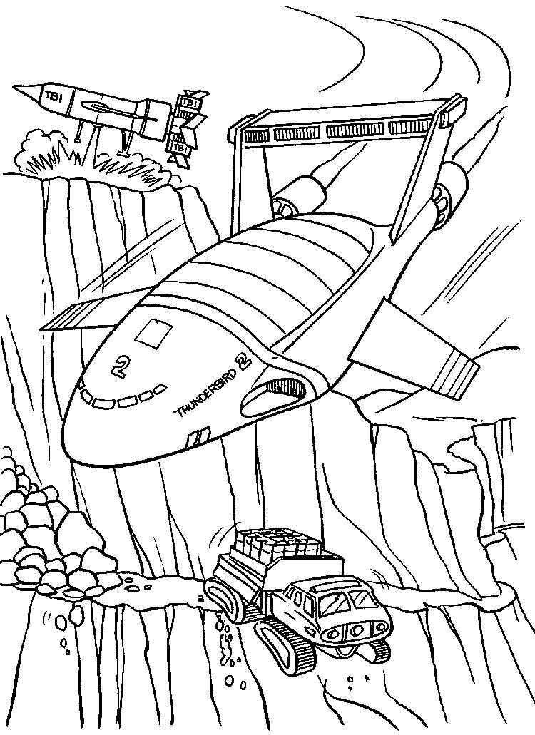 Awesome Thunderbirds Planes Coloring Picture