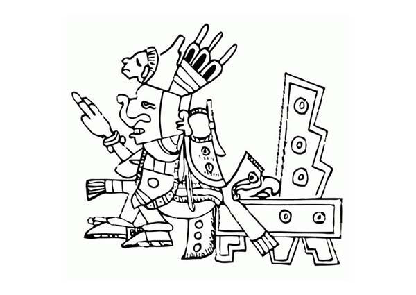 Aztec Emperor Sitting On Throne Coloring Pages