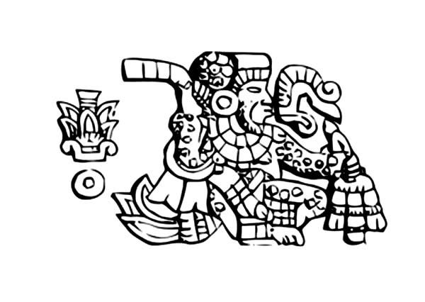 Aztec King In Burial Ceremonial Coloring Pages
