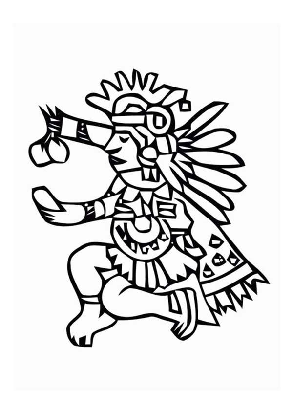 Aztec Ritual Giving Food For Their God Coloring Pages