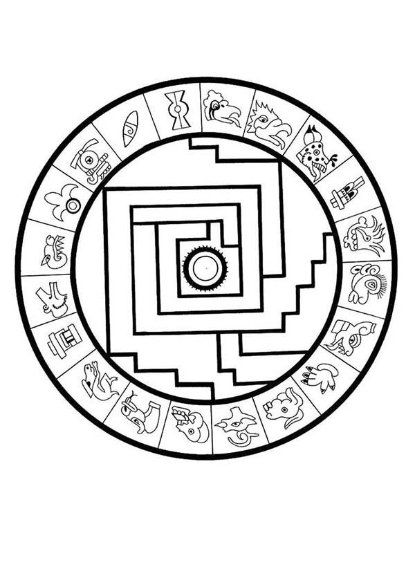 Aztec Sophisticated Calendar Stone Coloring Pages