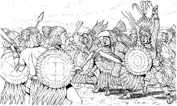 Aztec Warriors In Flower Wars Coloring Pages