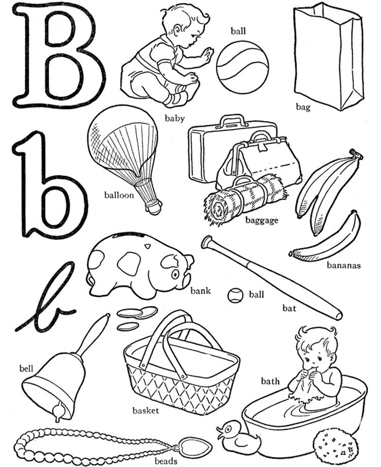 B For Words Alphabet Coloring Pages