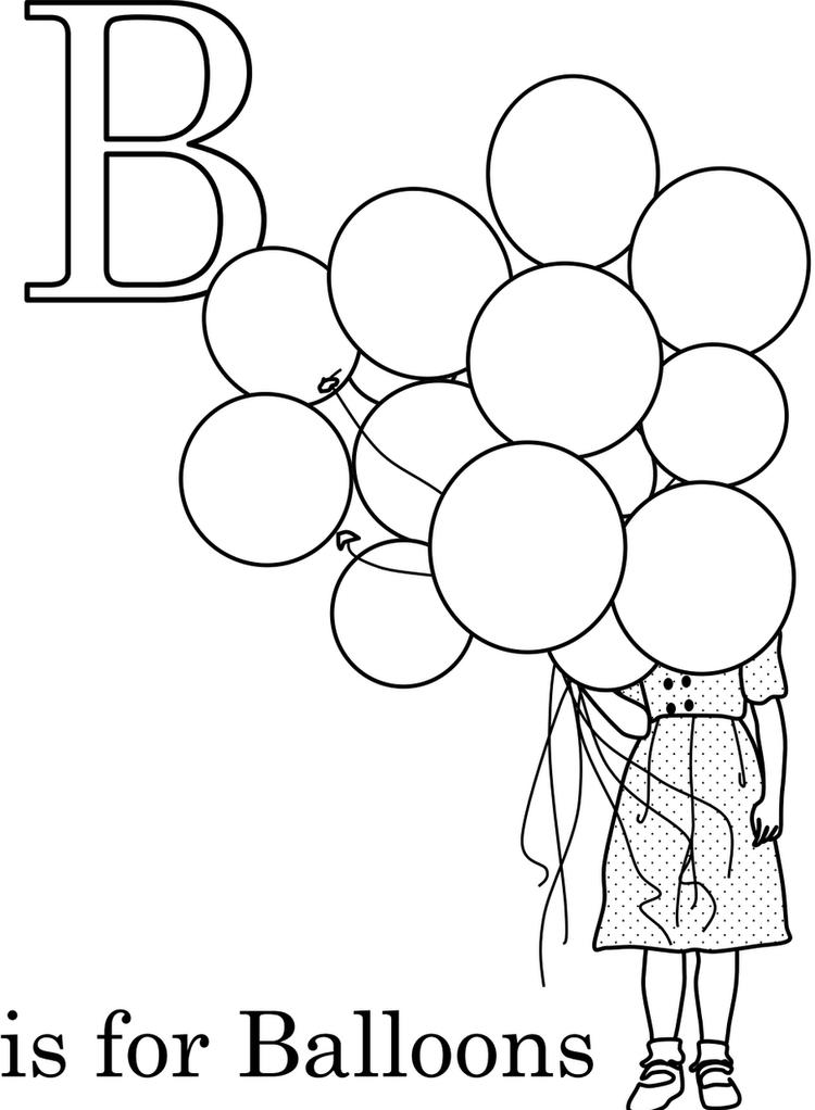 B Is For Balloon Alphabet Coloring Pages Printable