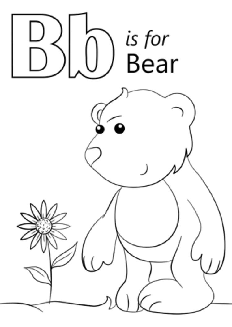 B Is For Bear Coloring Pages